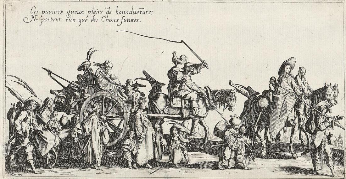 Jacques Callot, Rear Guard (Gypsies), 1621, engraving, 126×245 mm, GVUO