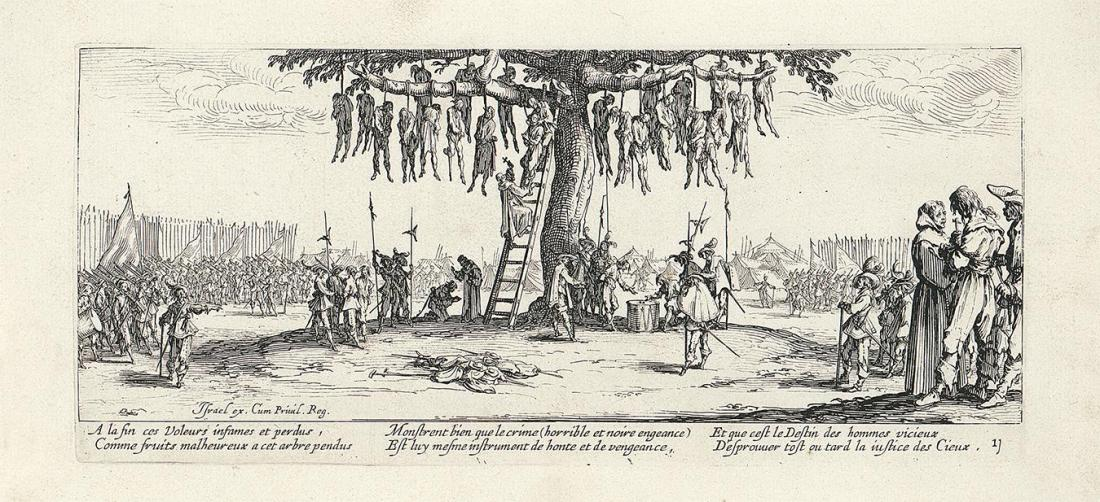 Jacques Callot, The Hanging (Sufferings and horrors of war), 1633, engraving, 82×186mm, GVUO