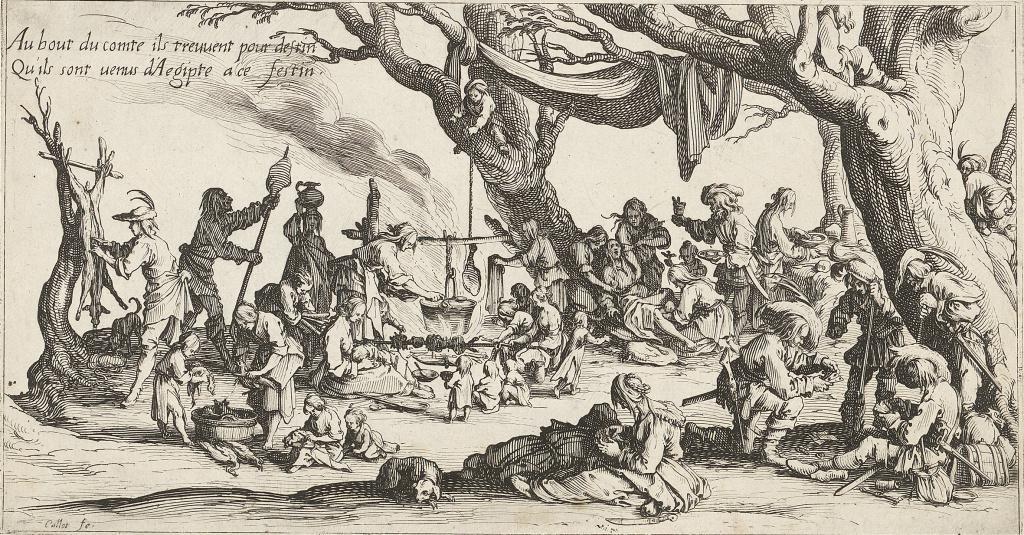 Jacques Callot, Preparing for a celebration (Gypsies), 1621, engraving, 127×240 mm, GVUO
