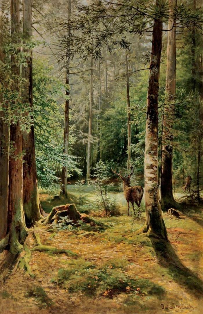 Julius Eduard Mařák / Forest Interior with Deer