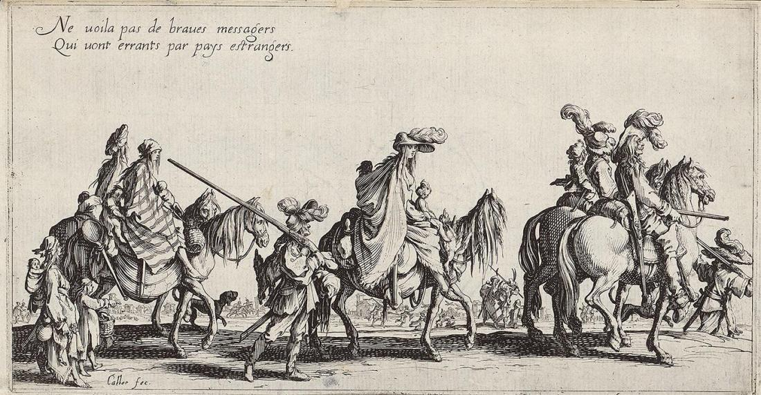 Jacques Callot, Front Guard (Gypsies), 1621, engraving, 126×245 mm, GVUO
