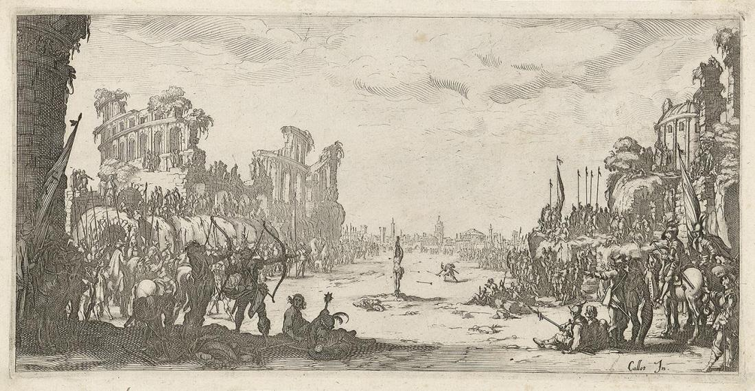 Jacques Callot, The Martyrdom of St. Sebastian, 1630, or 1634, engraving, GVUO